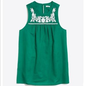 J Crew Green Embroidered Tank Top